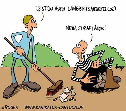 Karikatur, Cartoon: Straftäter, © Roger Schmidt