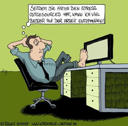 Karikatur, Cartoon: Stress im Büro, © Roger Schmidt