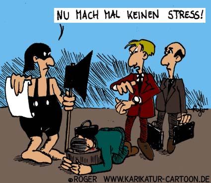 Karikatur, Cartoon: Stress, © Roger Schmidt