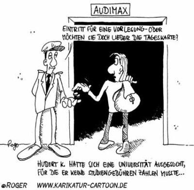 Karikatur, Cartoon: Studiengebühren, © Roger Schmidt