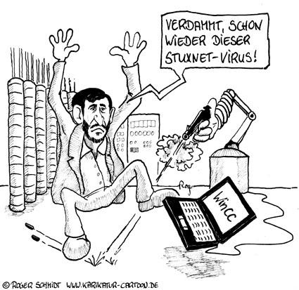 Karikatur, Cartoon: Stuxnet infiziert WinCC, © Roger Schmidt