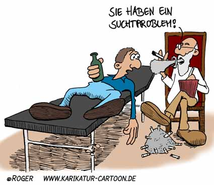 Karikatur, Cartoon: Sucht, © Roger Schmidt