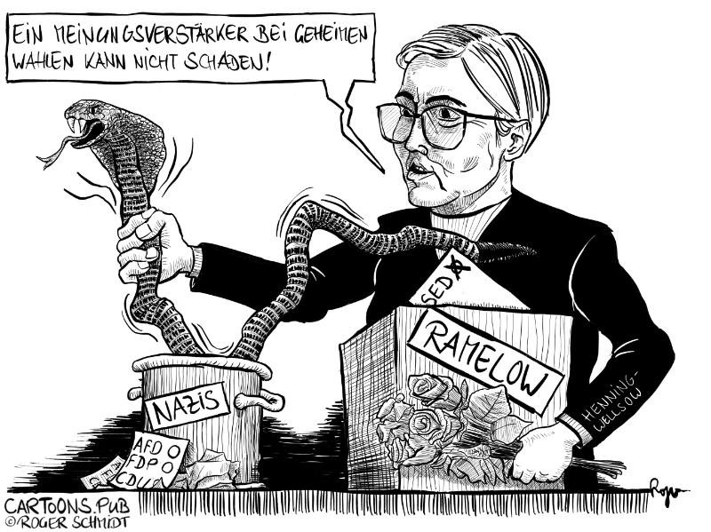 Karikatur, Cartoon: Thüringer Linken-Chefin Susanne Henning-Wellsow © Roger Schmidt