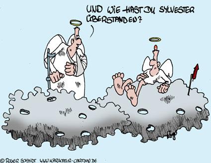 Karikatur, Cartoon: Sylvester-Rakete, © Roger Schmidt