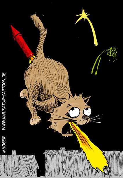 Karikatur, Cartoon: Sylvesterkatze, © Roger Schmidt