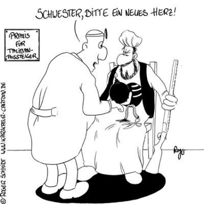 Karikatur, Cartoon: Taliban Aussteiger, © Roger Schmidt