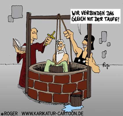 Karikatur, Cartoon: Taufe, © Roger Schmidt