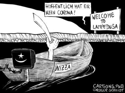 Karikatur, Cartoon: Terrorist kam über Lampedusa © Roger Schmidt