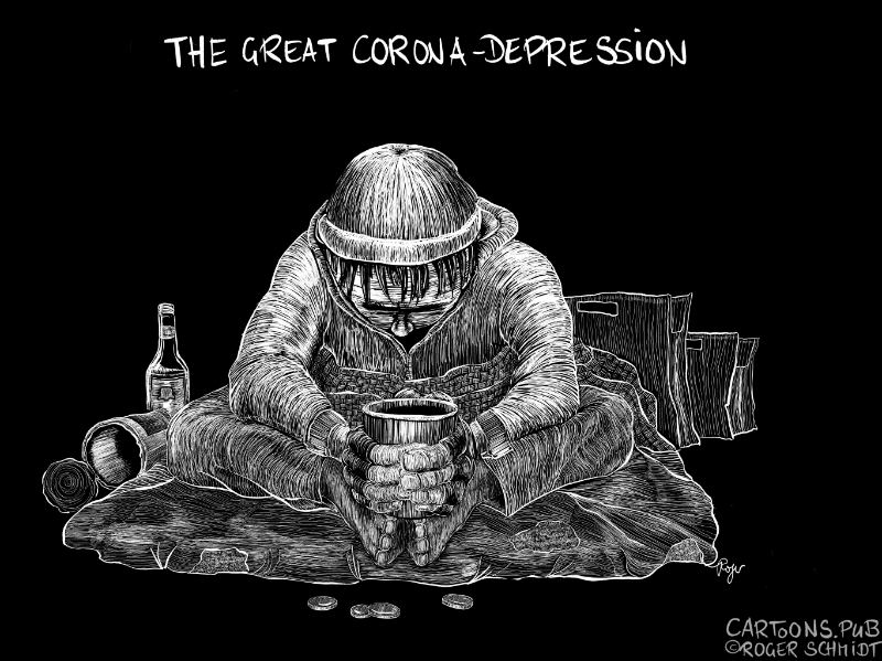 Karikatur, Cartoon: The Great Corona Depression © Roger Schmidt