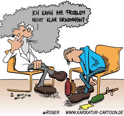 Karikatur, Cartoon: Therapie, © Roger Schmidt