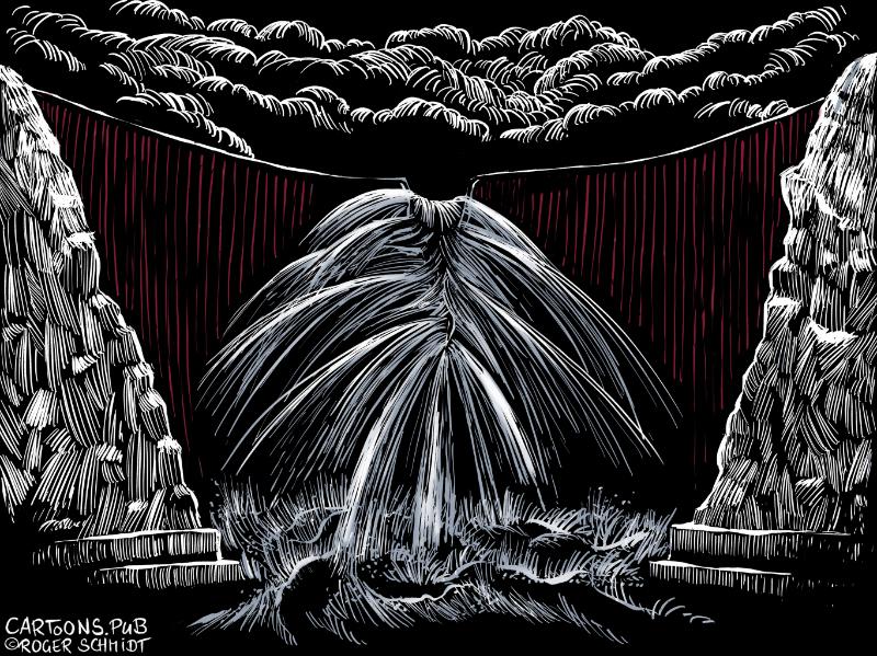 Karikatur, Cartoon: Thüringer Dammbruch © Roger Schmidt