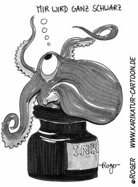 Karikatur, Cartoon: Tintenfisch, © Roger Schmidt
