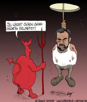 Karikatur, Cartoon: Todesstrafe Saddam Hussein, © Roger Schmidt