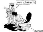 Karikatur, Cartoon: Toilettenpapier vergriffen © Roger Schmidt