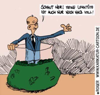 Karikatur, Cartoon: Topmanager geloben Gehaltsverzicht, © Roger Schmidt