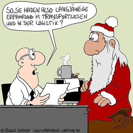 Karikatur, Cartoon: Transportwesen und Logistik im Weihnachtsgeschäft, © Roger Schmidt