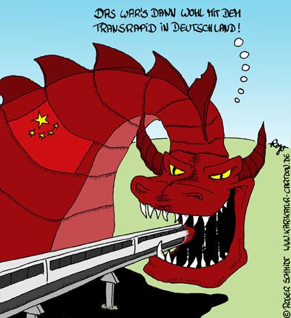 Karikatur, Cartoon: Transrapid, © Roger Schmidt