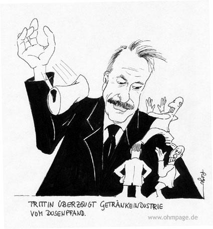 Karikatur, Cartoon: Trittin und das Dosenpfand, © Roger Schmidt
