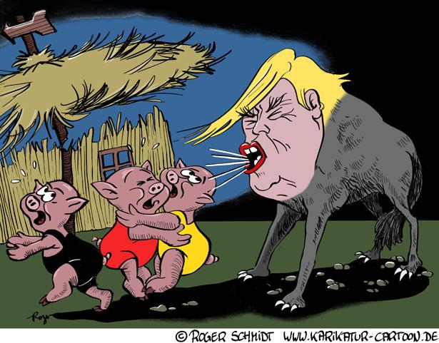 Karikatur, Cartoon: Trump und die drei kleinen Schweinchen, © Roger Schmidt
