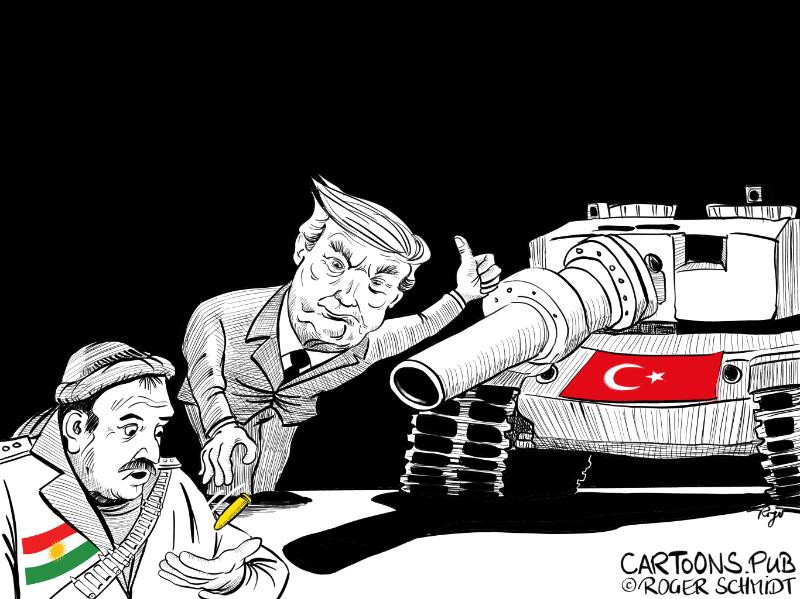 Karikatur, Cartoon: Trumps Verrat an den Kurden © Roger Schmidt