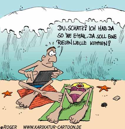 Karikatur, Cartoon: Tsunami, © Roger Schmidt