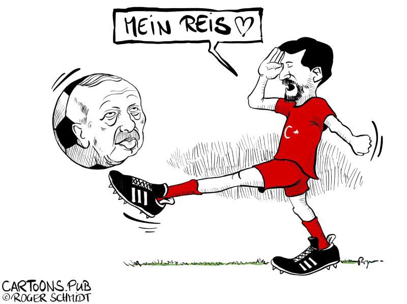 Karikatur, Cartoon: Türkische Fussballspieler salutieren Erdogan © Roger Schmidt
