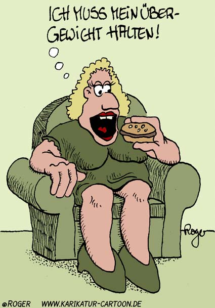 Karikatur, Cartoon: Übergewicht, © Roger Schmidt