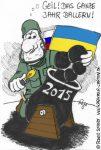 Karikatur, Cartoon: Neujahrsgrüße 2015 aus der Ukraine, © Roger Schmidt