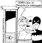 Karikatur, Cartoon: Der richtige Umgang mit dem Handy, © Roger Schmidt