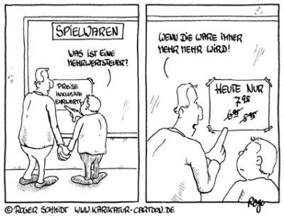 Karikatur, Cartoon: Umsatzsteuer, © Roger Schmidt
