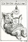 Karikatur, Cartoon: Umweltsau beim Lesen © Roger Schmidt