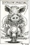 Karikatur, Cartoon: Umweltsau Motorradfahrer n © Roger Schmidt