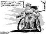 Karikatur, Cartoon: Umweltsau Oma im Hühnerstall © Roger Schmidt