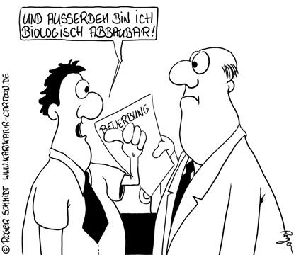 Karikatur, Cartoon: Umweltverträglichkeitsprüfung für Arbeitnehmer, © Roger Schmidt