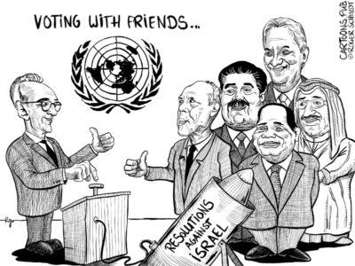 Karikatur, Cartoon: UN-Resolutionen gegen Israel © Roger Schmidt