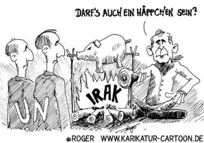 Karikatur, Cartoon: UN-Resolution Irak, © Roger Schmidt