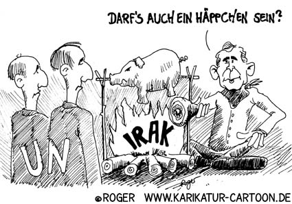 Karikatur, Cartoon: UN-Resolution Irak, © Roger Schmidt
