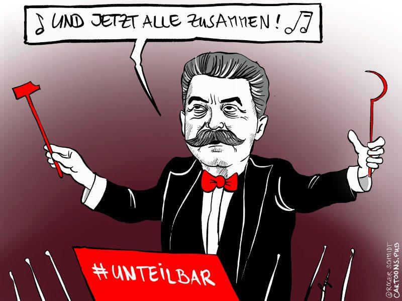 Karikatur, Cartoon: Unteilbar-Demo © Roger Schmidt