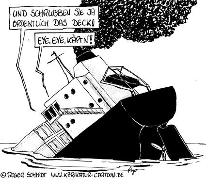 Karikatur, Cartoon: Unternehmenskultur im sinkenden Schiff, © Roger Schmidt