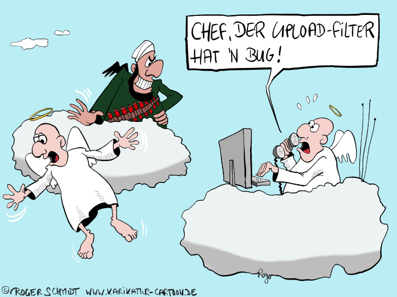 Karikatur, Cartoon: Upload-Filter, © Roger Schmidt