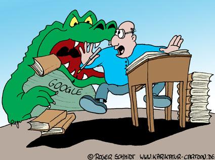 Karikatur, Cartoon: Urheberrechtsverletzung durch Google, © Roger Schmidt