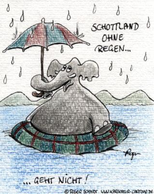 Karikatur, Cartoon: Urlaub in Schottland, © Roger Schmidt