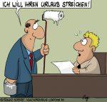 Karikatur, Cartoon: Darf der Chef den Urlaub streichen?, © Roger Schmidt