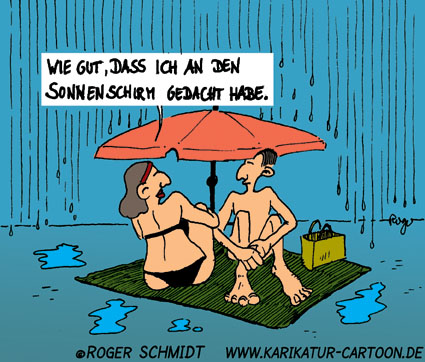 Karikatur, Cartoon: Urlaub, © Roger Schmidt