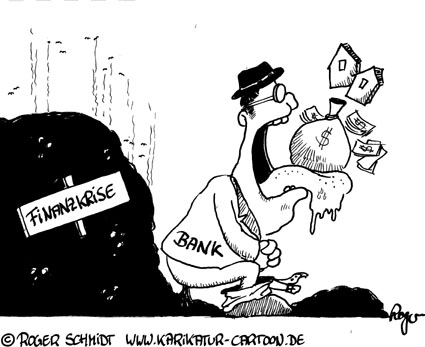 Karikatur, Cartoon: Die Ursachen der Finanzkrise, © Roger Schmidt
