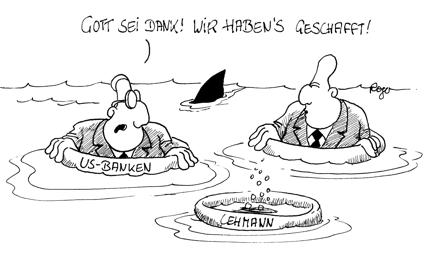 Karikatur, Cartoon: US-Banken am Abgrund, © Roger Schmidt