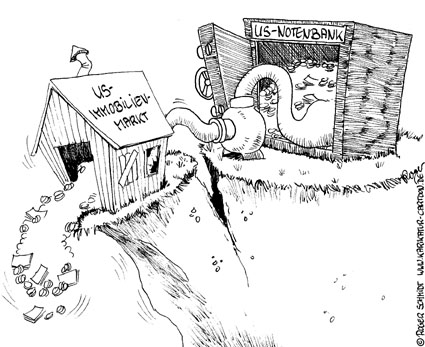 Karikatur, Cartoon: US-Immoblienmarkt, © Roger Schmidt