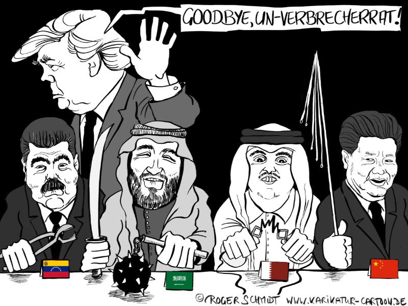 Karikatur, Cartoon: USA treten aus UN-Menschenrechtsrat, © Roger Schmidt