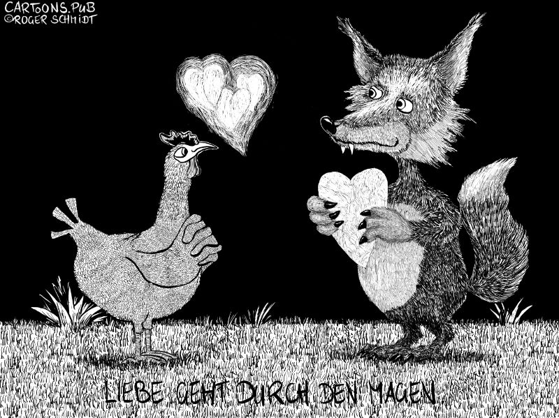 Karikatur, Cartoon: Valentinstag Liebe geht durch den Magen © Roger Schmidt