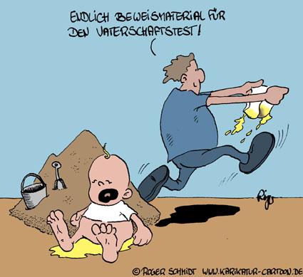 Karikatur, Cartoon: Vaterschaftstest, © Roger Schmidt